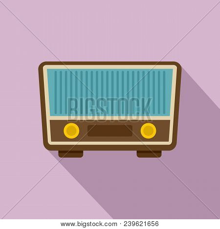 Retro Vintage Radio Icon. Flat Illustration Of Retro Vintage Radio Vector Icon For Web Design