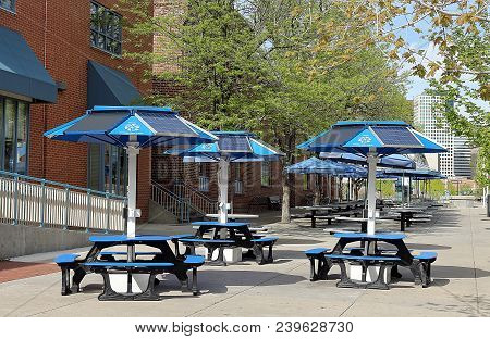 Denver, Colorado - May 6, 2018. Solar Panels In Street Cafe In Downtown Denver