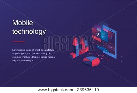 Isometric Mobile Phone. Smart And Simple Web Interface With Different Apps And Icons. 3d Vector. Web