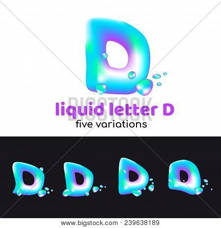 D Letter Is An Aqua Logo. Liquid Volumetric Letter With Droplets And Sprays For The Corporate Style