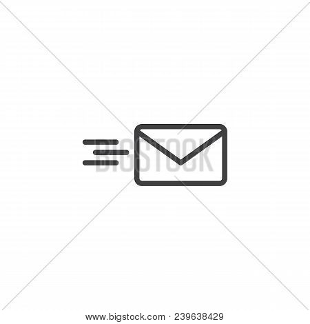 Sending Mail Outline Icon. Linear Style Sign For Mobile Concept And Web Design. Flying Envelope Simp