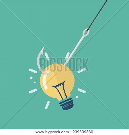Fishhook With Idea Light Bulb. Business Concept Graphic Design