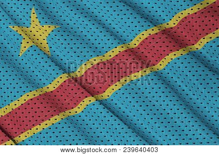Democratic Republic Of The Congo Flag Printed On A Polyester Nylon Sportswear Mesh Fabric With Some