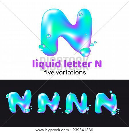N Letter Is An Aqua Logo. Liquid Volumetric Letter With Droplets And Sprays For The Corporate Style