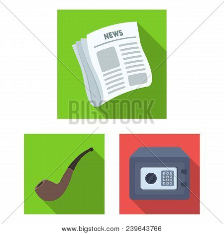 Detective And Attributes Flat Icons In Set Collection For Design.detective Agency Vector Symbol Stoc