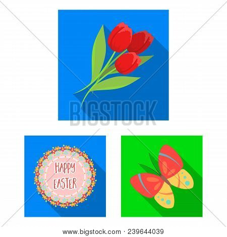 Easter Is A Christian Holiday Flat Icons In Set Collection For Design. Easter Attributes Vector Symb