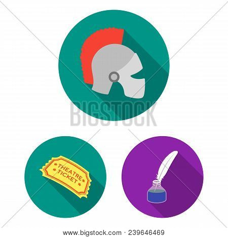Theatrical Art Flat Icons In Set Collection For Design.theater Equipment And Accessories Vector Symb