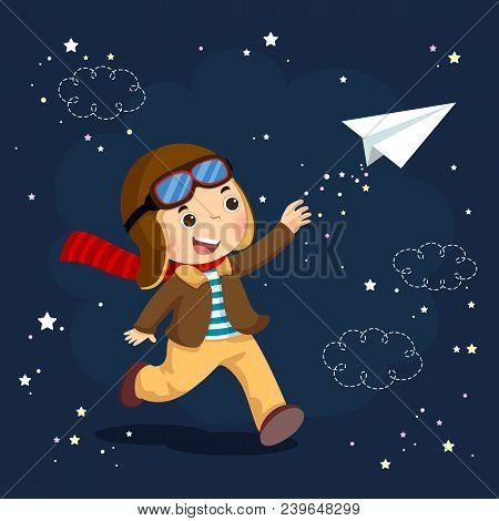 Vector Illustration Of Little Boy Wearing Helmet And Dreams Of Becoming An Aviator While Flying A Pa