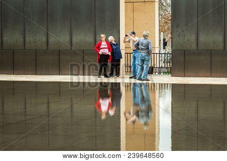 Oklahoma City, Oklahoma / Usa - March 31, 2018: Older Senior Tourists Visit The Oklahoma City Bombin