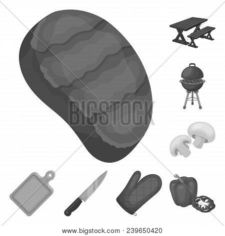 Barbecue And Equipment Monochrome Icons In Set Collection For Design. Picnic And Fried Food Vector S
