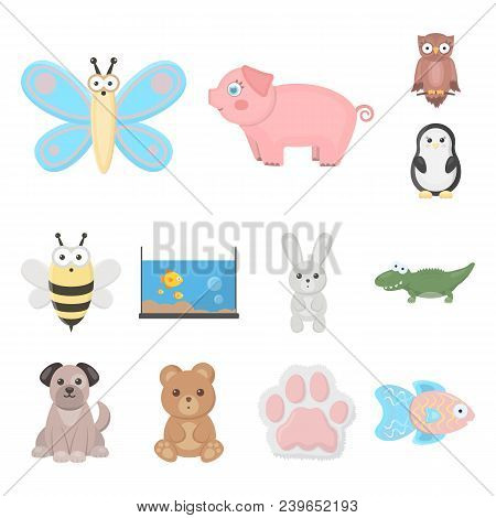 An Unrealistic Cartoon Animal Icons In Set Collection For Design. Toy Animals Vector Symbol Stock Il