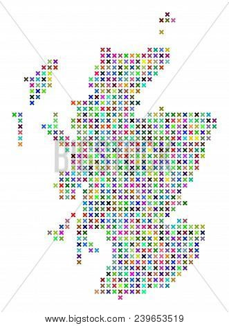 Scotland Map. Vector Collage Of Geographic Scheme. Regular Pattern Is Done Of X-cross Pixels In Rand
