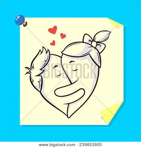 Colored Illustration Of A Sticker With Painted Lovers Embracing In The Shape Of A Heart