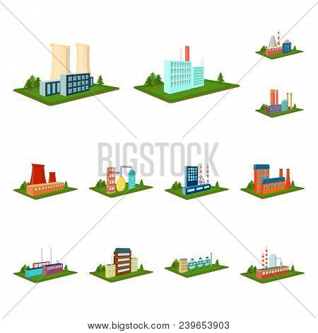 Factory And Plant Cartoon Icons In Set Collection For Design. Production And Enterprise Vector Isome