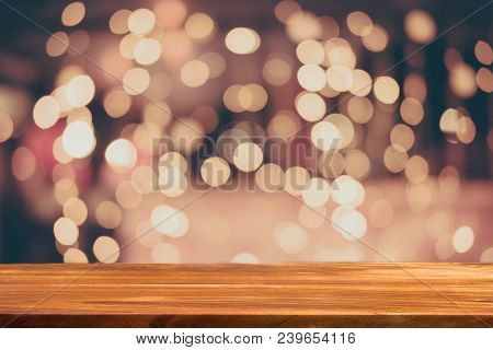 Valentines Day Background With Vintage Bokeh And Empty Wooden Table For A Decoration
