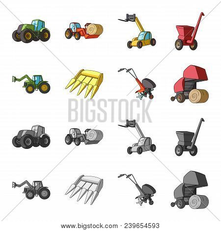 Motoblock And Other Agricultural Devices. Agricultural Machinery Set Collection Icons In Cartoon, Mo