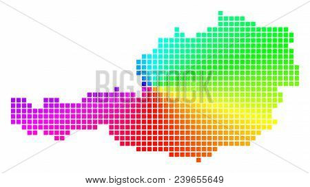 Spectrum Austria Map. Vector Cell Geographic Plan In Bright Spectrum Colors With Circular Gradient.