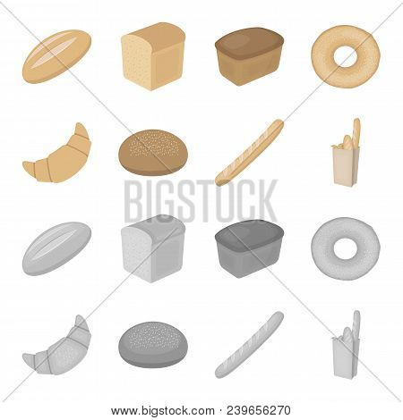 Rye Round Bread, A Croissant, A French Loaf, A Bag Of Bread.bread Set Collection Icons In Cartoon, M