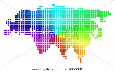 Spectral Eurasia Map. Vector Dotted Geographic Plan In Bright Spectrum Colors With Circular Gradient