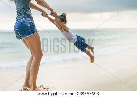 Mom And Baby Playing Near Beach. Traveling With Family, Child