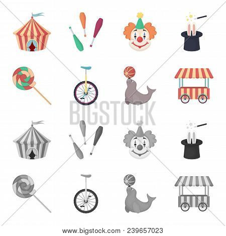 Lollipop, Trained Seal, Snack On Wheels, Monocycle.circus Set Collection Icons In Cartoon, Monochrom