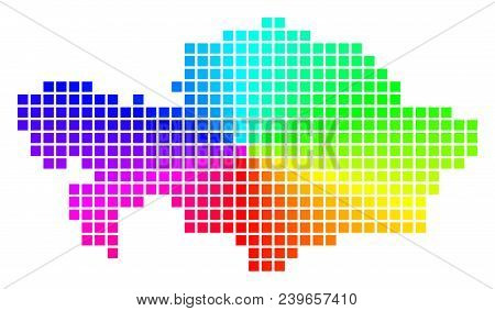 Spectrum Kazakhstan Map. Vector Dotted Geographic Map In Bright Spectrum Colors With Circular Gradie