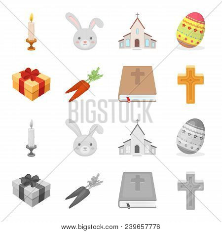 Cross, Bible, Gift And Carrots.easter Set Collection Icons In Cartoon, Monochrome Style Vector Symbo