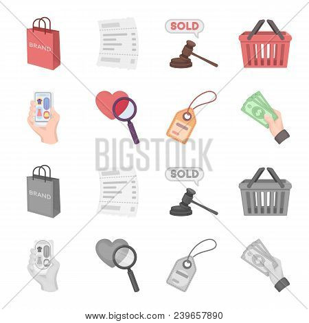 Hand, Mobile Phone, Online Store And Other Equipment. E Commerce Set Collection Icons In Cartoon, Mo