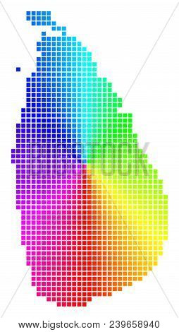 Spectrum Sri Lanka Island Map. Vector Dot Geographic Plan In Bright Spectrum Colors With Circular Gr
