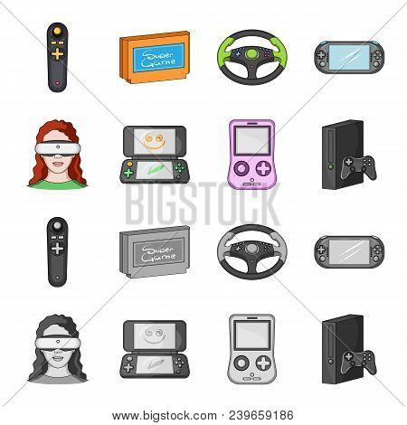 Game Console And Virtual Reality Cartoon, Monochrome Icons In Set Collection For Design.game Gadgets