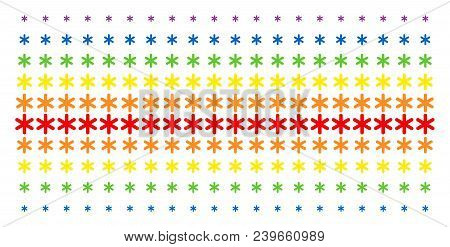 Snowflake Icon Spectrum Halftone Pattern. Vector Shapes Arranged Into Halftone Array With Vertical S