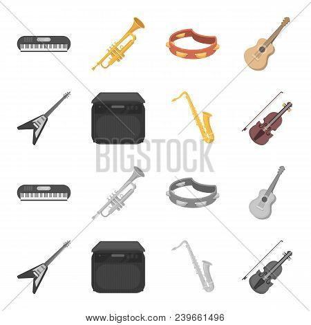Electric Guitar, Loudspeaker, Saxophone, Violin.music Instruments Set Collection Icons In Cartoon, M