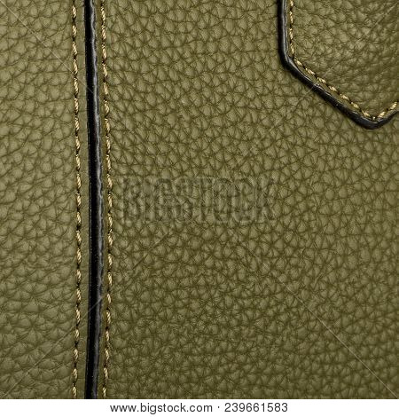 The Texture Of Two Cross-linked Halves Of Hard Green Skin With A Neat Black Stitch And Valve For The
