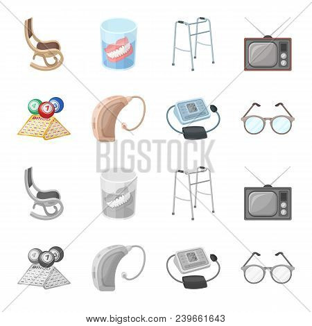 Lottery, Hearing Aid, Tonometer, Glasses.old Age Set Collection Icons In Cartoon, Monochrome Style V