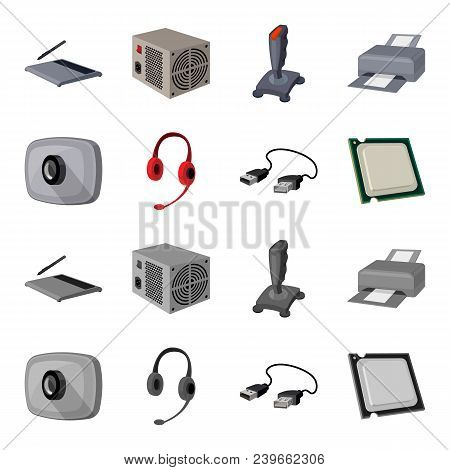Webcam, Headphones, Usb Cable, Processor. Personal Computer Set Collection Icons In Cartoon, Monochr