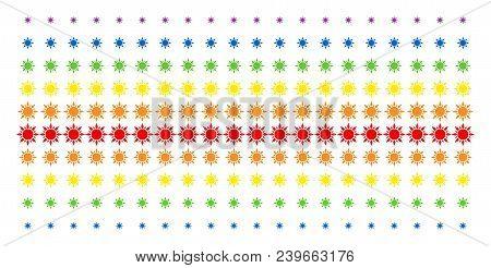 Sun Icon Spectrum Halftone Pattern. Vector Pictograms Arranged Into Halftone Matrix With Vertical Sp