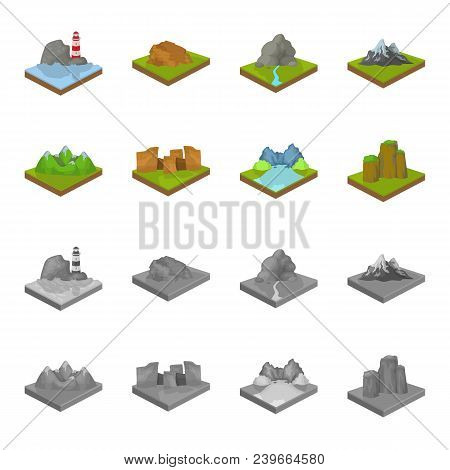 Mountains, Rocks And Landscape. Relief And Mountains Set Collection Icons In Cartoon, Monochrome Sty