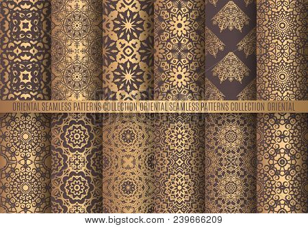 Vector Arabesque Patterns. Seamless Flourish Backgrounds. Golden Abstract Flower And Floral Design E