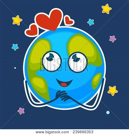 Earth With Dreamy Face And Hearts Above In Starry Sky. Planet That Has Excited Facial Expression, Sh