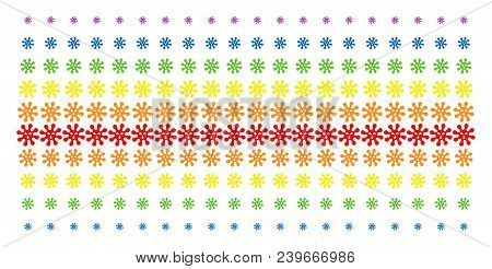 Virus Icon Spectrum Halftone Pattern. Vector Symbols Organized Into Halftone Grid With Vertical Spec