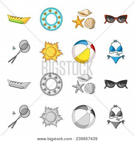 A Game Of Badminton, A Ball And The Sun.summer Vacation Set Collection Icons In Cartoon, Monochrome