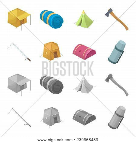 Spinning For Fishing, Tent, Thermos.tent Set Collection Icons In Cartoon, Monochrome Style Vector Sy