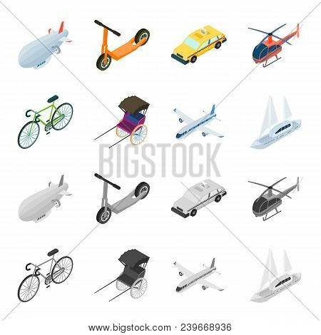 Bicycle, Rickshaw, Plane, Yacht.transport Set Collection Icons In Cartoon, Monochrome Style Vector S