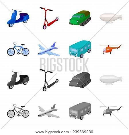 Bicycle, Airplane, Bus, Helicopter Types Of Transport. Transport Set Collection Icons In Cartoon, Mo