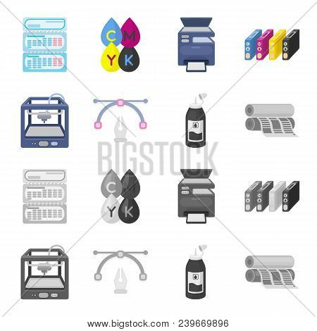 3d Printer, Newspaper Printer, Ink, Pen. Typography Set Collection Icons In Cartoon, Monochrome Styl