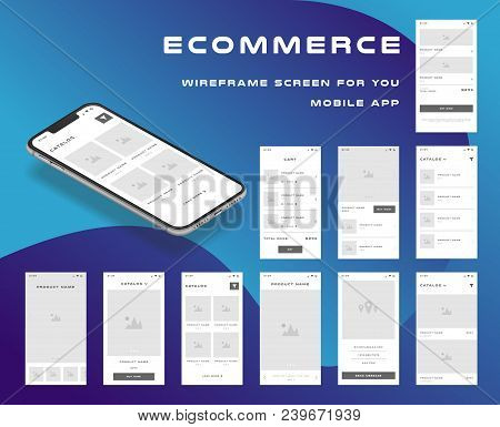 10 in 1 UI kits. Wireframes screens for your mobile app. GUI template on the topic of ecommerce . Development interface with UX design. Vector illustration. Eps 10. poster