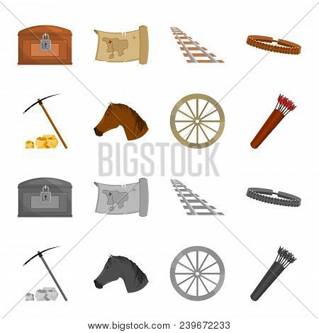 Pickax Hoe, Horse Head, Wheel Cart, Quiver With Arrows.wild West Set Collection Icons In Cartoon, Mo