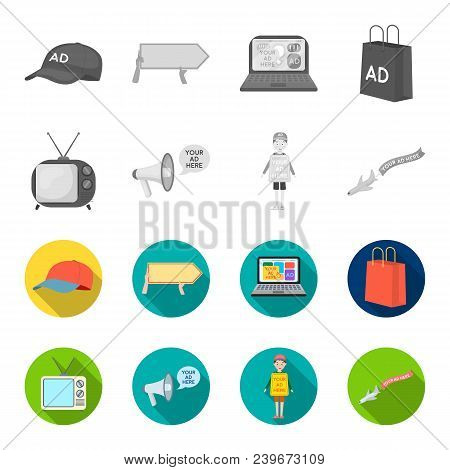 Tv, Megaphone, A Man With A Poster, An Airplane With A Banner.advertising, Set Collection Icons In M