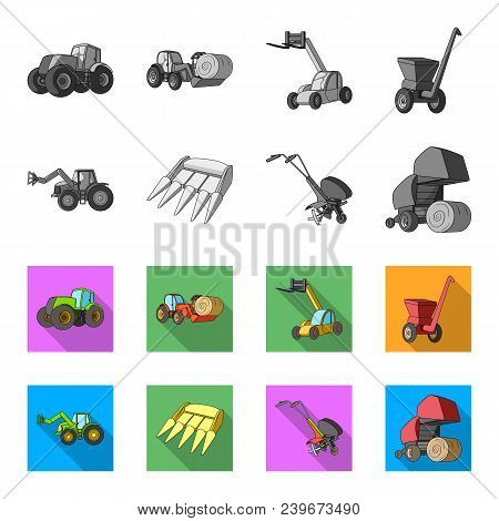 Motoblock And Other Agricultural Devices. Agricultural Machinery Set Collection Icons In Monochrome,