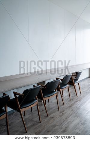 Table Chair In The Office Room The Clean Room, Build In Furniture, White Modern Meeting Room.